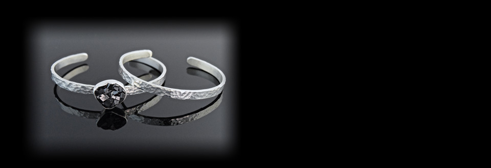 Handmade sterling silver hammered cuff bracelets