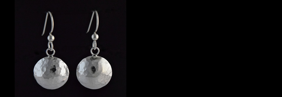 Sterling silver hammered domed disc earrings
